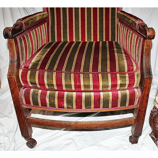 Rolling French Chair in Velour Stripe For Sale - Image 5 of 6