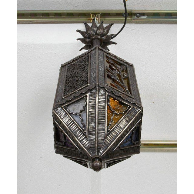 1920s Kiss Wrought Iron Lantern For Sale - Image 5 of 9