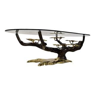 Hollywood Regency Bonsai Brass Coffee Table For Sale