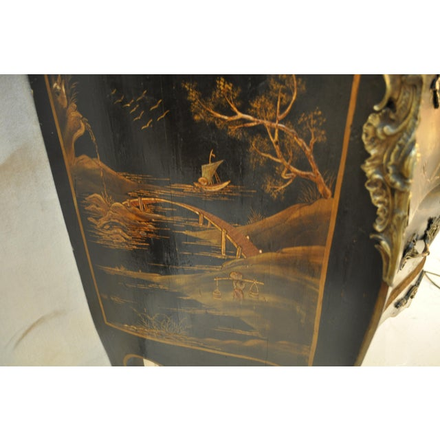Marble French Louis XV Style Bombe Form Two Drawer Chest With Chinoiserie Decorations and White Marble Top For Sale - Image 7 of 13