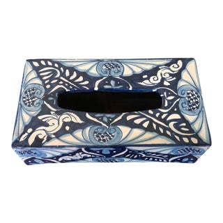 Blue and White Ceramic Tissue Holder