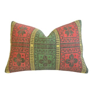 """Green & Red Woven Turkish Carpet Rug Feather/Down Pillow 24"""" X 16"""" For Sale"""
