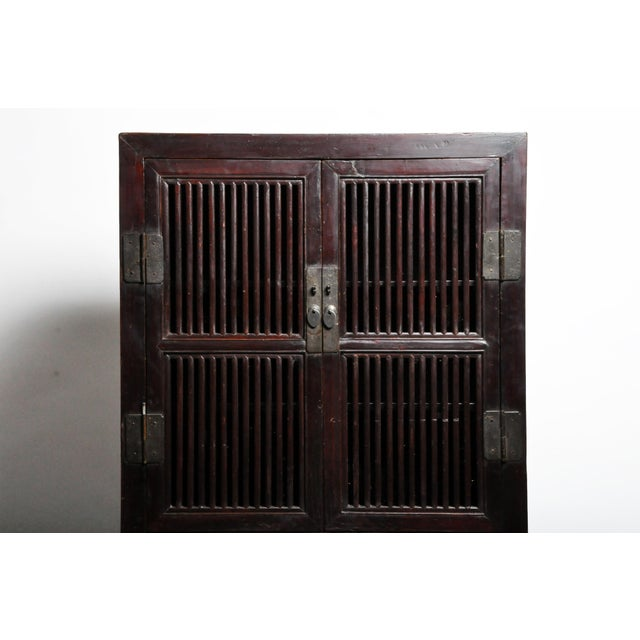 Mid 19th Century Mid 19th Century Chinese Lattice Kitchen Cabinet With Original Patina For Sale - Image 5 of 13
