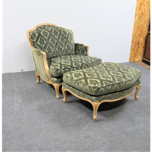 Louis XV Style Pickled Finish Bergere & Ottoman For Sale - Image 9 of 12