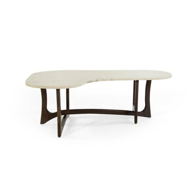 Wood 1950s Asymmetric Marble-Top Coffee Table by Adrian Pearsall For Sale - Image 7 of 10