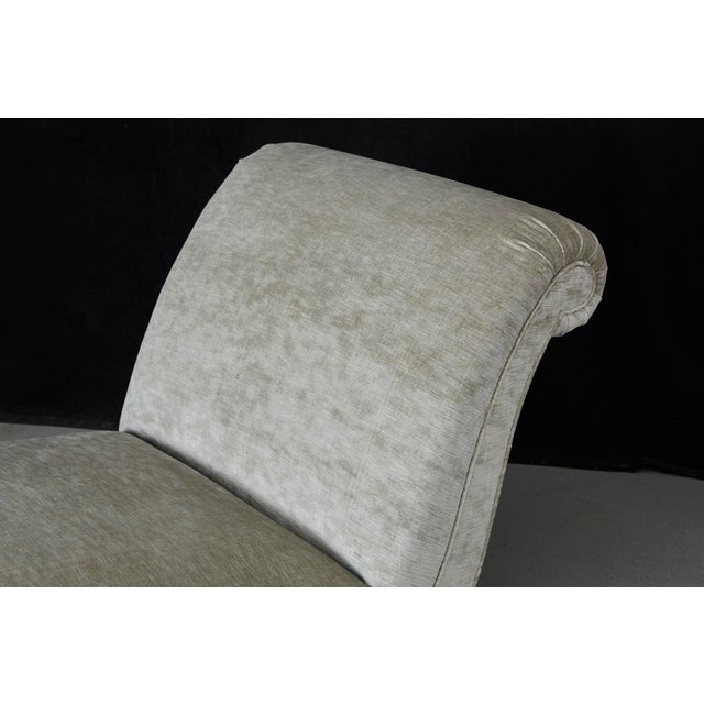Tan French Chaise Longue With Striae Velvet New Upholstery, Circa 1930's For Sale - Image 8 of 13