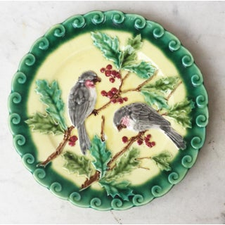 1880 Majolica Plate Birds With Holly Sarreguemines Preview