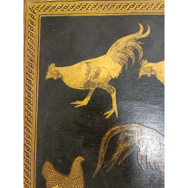 Antique Bamboo Table With Decoupage Roosters For Sale In Dallas - Image 6 of 8