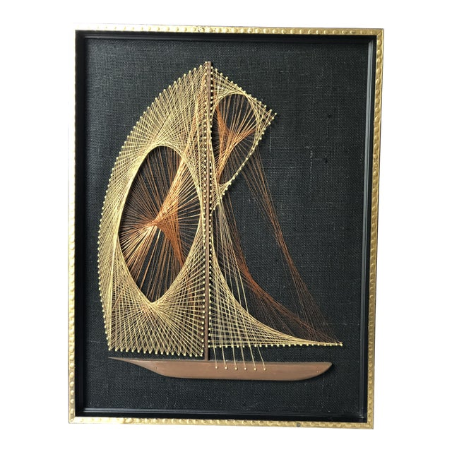 Mid-Century Sailboat Wire String Art For Sale
