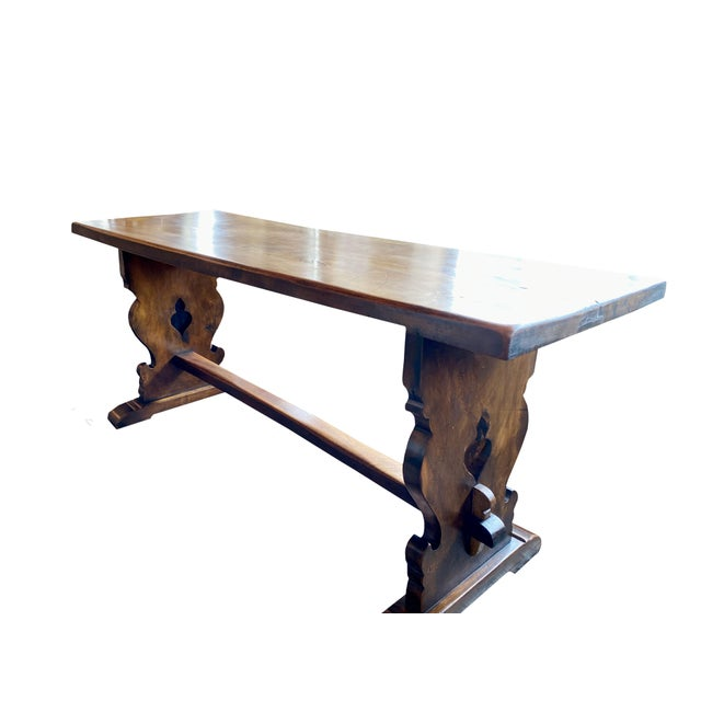 Northern Italian 19th Century Walnut Trestle Table For Sale - Image 4 of 11
