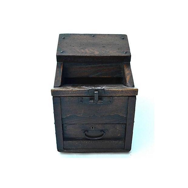 Antique Japanese Keyaki Money Box - Image 7 of 7