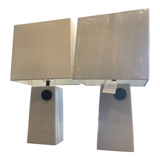 Arteriors White Rectangular Cambria Lamps With Shade - A Pair For Sale