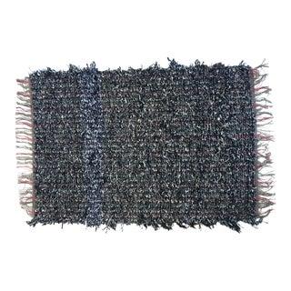 Miniature Black Handwoven Area Rug - 2′4″ × 3′7″ For Sale