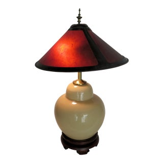 Asian Porcelain Table Lamp W/Mica Shade For Sale