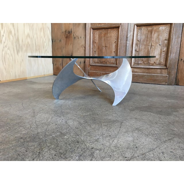 Mid-Century aluminum propeller coffee table with glass top by Knut Hesterberg,