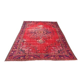 1960s Vintage Turkish Ousha Hand-Knotted Rug - 6′8″ × 9′8″ For Sale