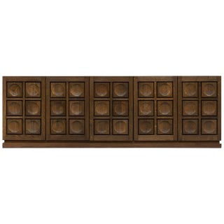 Brutalist Stained Oak Credenza, 1970s For Sale