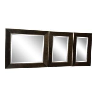 Designed Wood Finish Mirrors - Set of 3