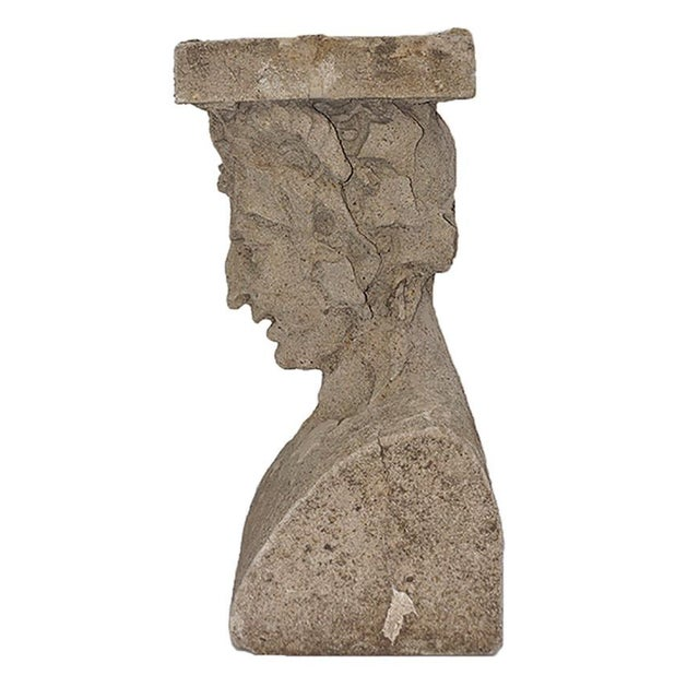 Late 19th Century Cast Stone Pedestals With Figural Bust and Foliate Design - a Pair For Sale - Image 4 of 11