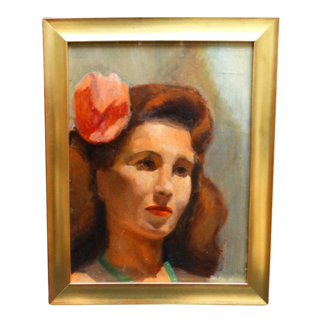 Vintage Mid-Century Albert Londraville Woman With a Flower in Her Hair Painting For Sale