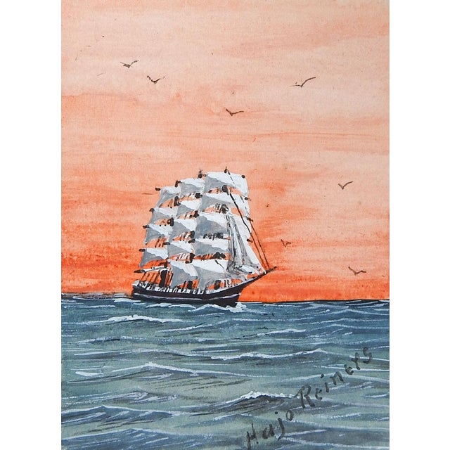 Tiny Sailing Ship at Sunset Watercolor Painting For Sale - Image 4 of 4