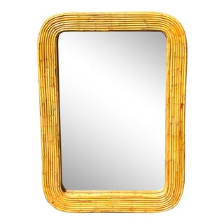Vintage Boho Pencil Reed Mirror For Sale