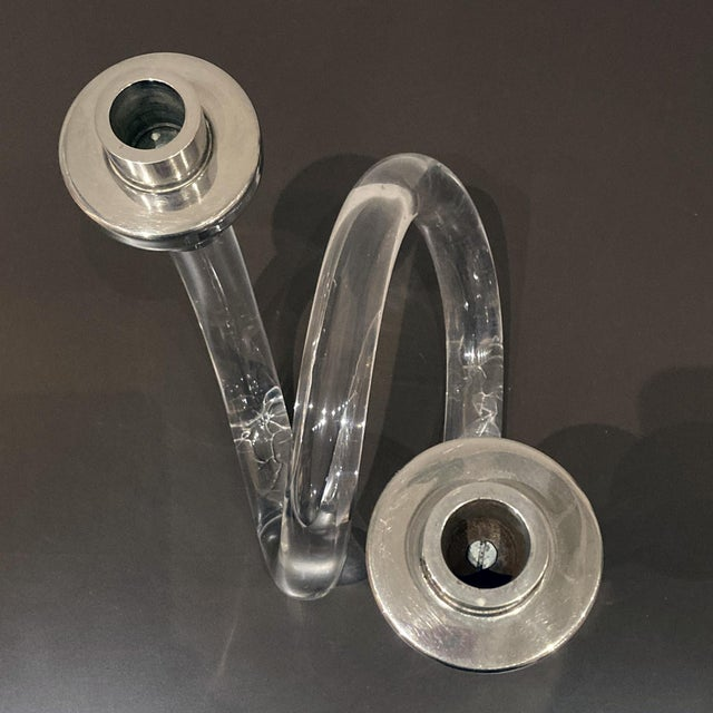 1960s Dorothy Thorpe Attributed Lucite Candlestick For Sale - Image 5 of 8