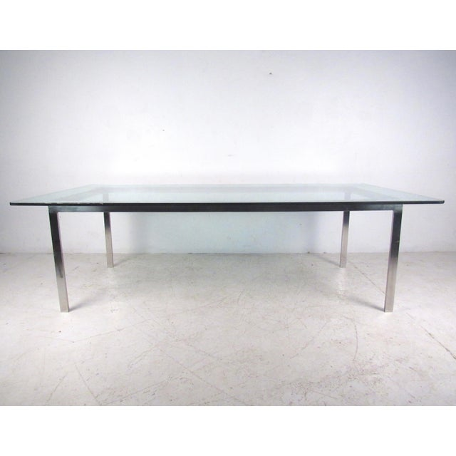 MidCentury Chrome And Glass Conference Table Chairish - Glass conference table for sale