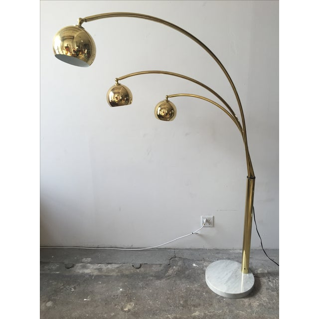 Mid-Century Brass 3 Branch Orb Lamp W/ Marble Base - Image 2 of 10