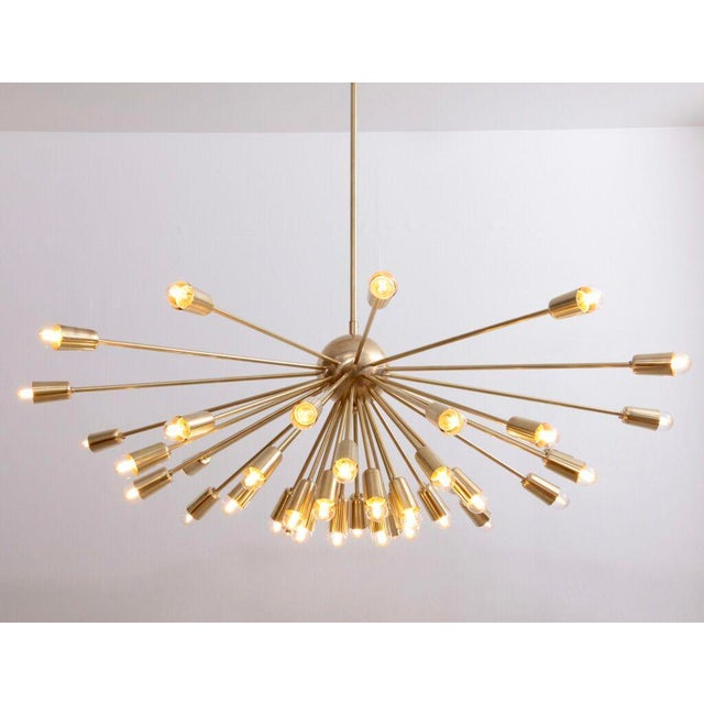 Impressive Brass Sputnik Chandelier in the Manner of Stilnovo For Sale - Image 6 of 6