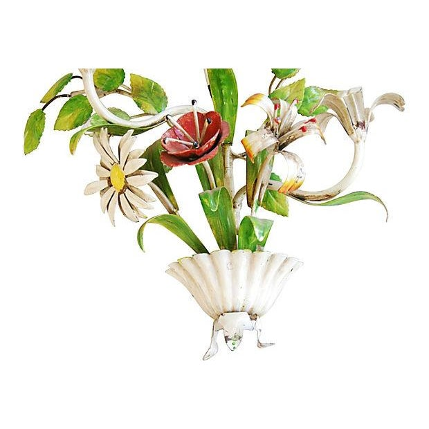 1940s Italian Hand-Painted Tole Floral Sconce - Image 3 of 7