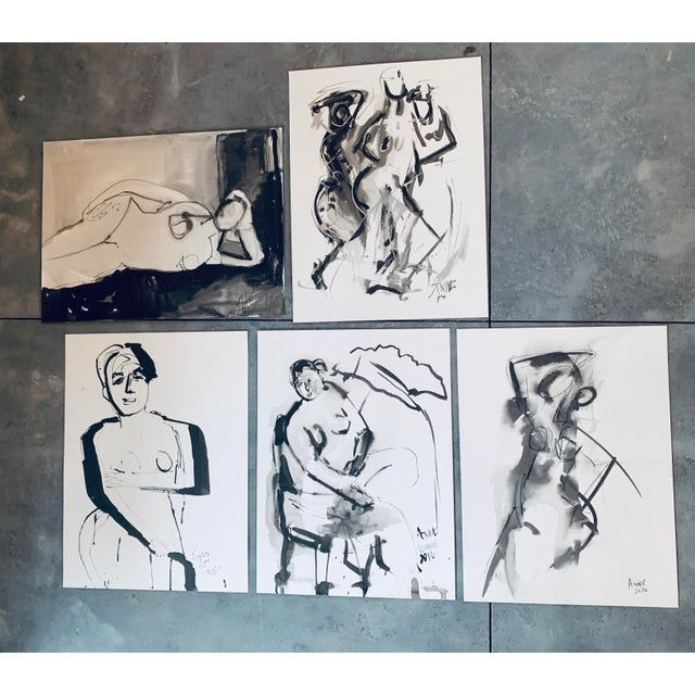 "Abstract India Ink Abstract "" Study of Figure VII "" by Anne Darby Parker For Sale - Image 3 of 3"