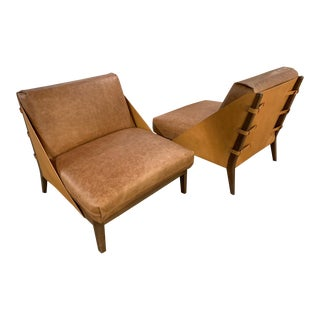 Brown Leather Lounge Chair- a Pair For Sale