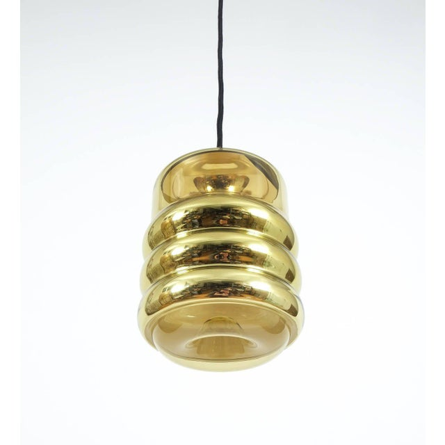 Hollywood Regency Three Staff Golden Glass Pendant Lamps with Black Cord Wire, 1970 For Sale - Image 3 of 6