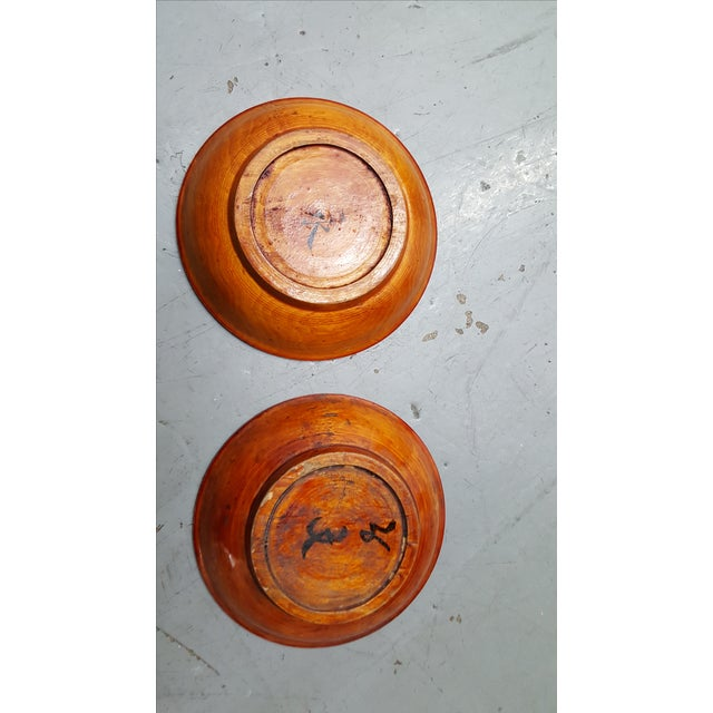 Japanese Wooden Inscribed Bowls - Pair Lacquer Finish - Image 3 of 4