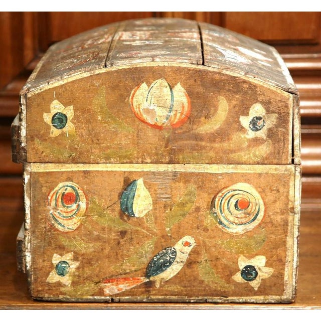 18th Century French Painted Bird Motif Trunk - Image 7 of 8