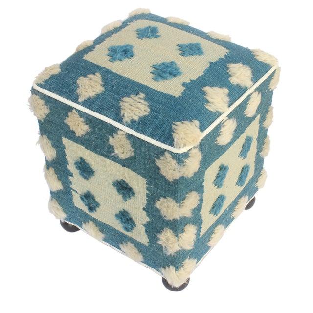 Islamic Modern Moroccan Blue & Tan Wool Upholstered Handmade Ottoman For Sale - Image 3 of 7