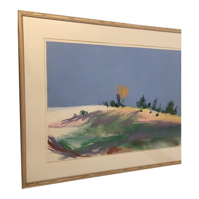 Large Original Vintage Pastel Landscape Drawing Signed For Sale