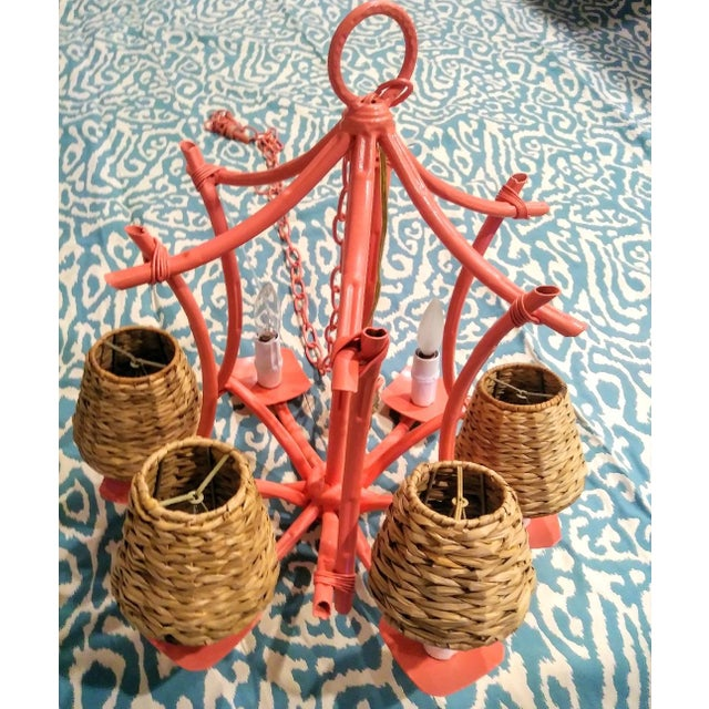 Vintage Faux Bamboo Pagoda 6 Light Coral Painted Palm Beach Regency Chandelier Light Fixture For Sale In West Palm - Image 6 of 10