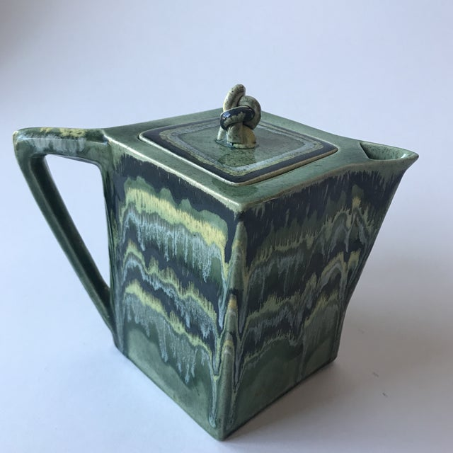 Mid-Century Modern California Green Ceramic Drip Glaze Pitcher For Sale - Image 3 of 11