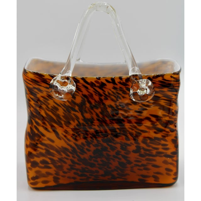 Mid-Century Modern Mid Century Modern Tortoise Shell Glass Purse Cachepot / Vase For Sale - Image 3 of 9