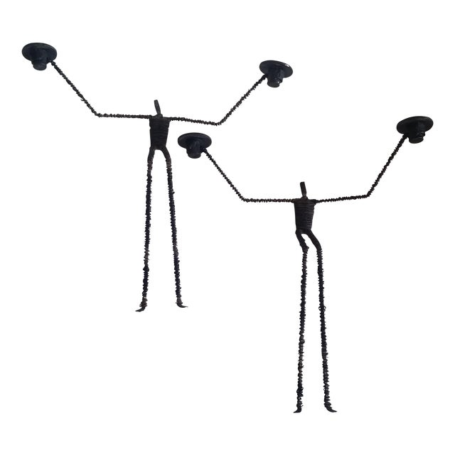 Brutalist Iron & Wire Men Wall Sconces - A Pair - Image 1 of 5