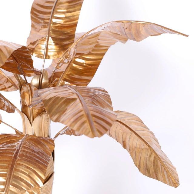 Midcentury Brass Palm Tree Sculpture For Sale - Image 4 of 8