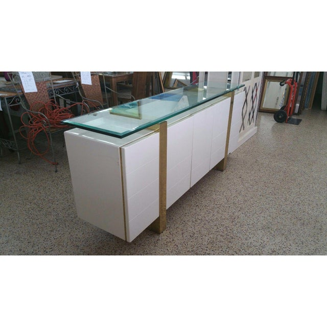 Lacquer & Brass Sideboard Floating Glass Top For Sale - Image 11 of 12