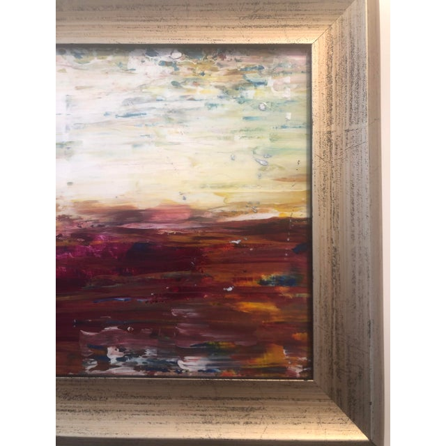 """Magenta """"Warm Horizon"""" Contemporary Abstract Expressionist Acrylic Painting, Framed For Sale - Image 8 of 9"""