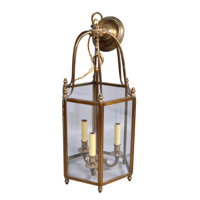Hollywood Regency Rustic Brass and Glass Lantern Three-Light Hall Lantern For Sale - Image 3 of 6