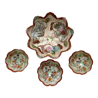 1940s Chinoiserie Kutani Hand-Painted Footed Bowls - Set of 4 For Sale