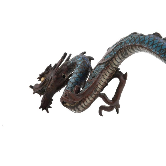 "Chinese Antique 17"" Cloisonne Dragon Figure - Image 5 of 9"