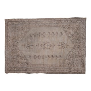 Low Pile Muted Carpet Turkish Oushak Wool Rug- 6'5'' X 9'6'' For Sale