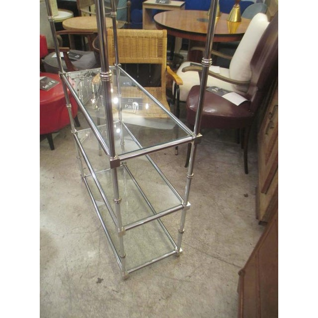 Pair of Chrome Etageres/Bookcases With Glass Shelves For Sale In New York - Image 6 of 9